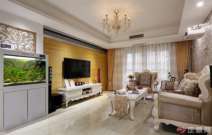 套田園歐式111㎡-客廳茶幾電視柜魚缸沙發電視-設計