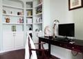 书房,书柜,办公桌,电脑,灯饰,椅子,摆件