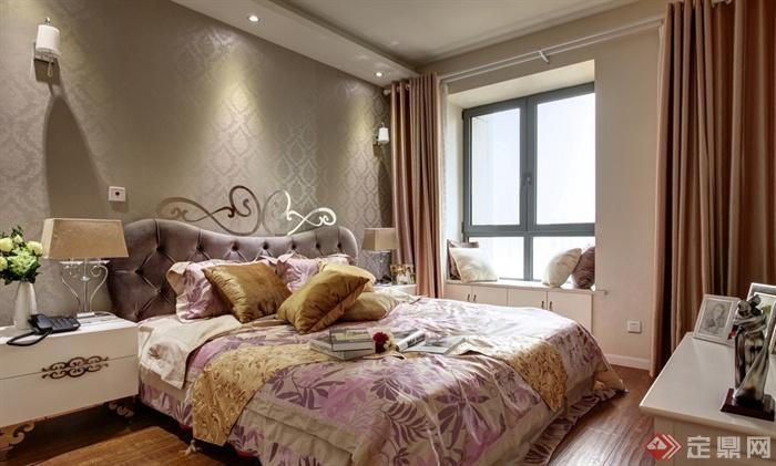 卧室,床,床头柜,背景墙