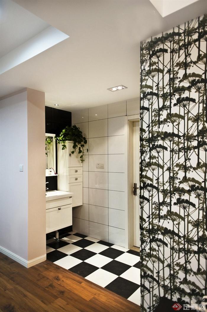 1183设计宅室内图片-洗手台隔断储物柜-居住30平室内设计图片
