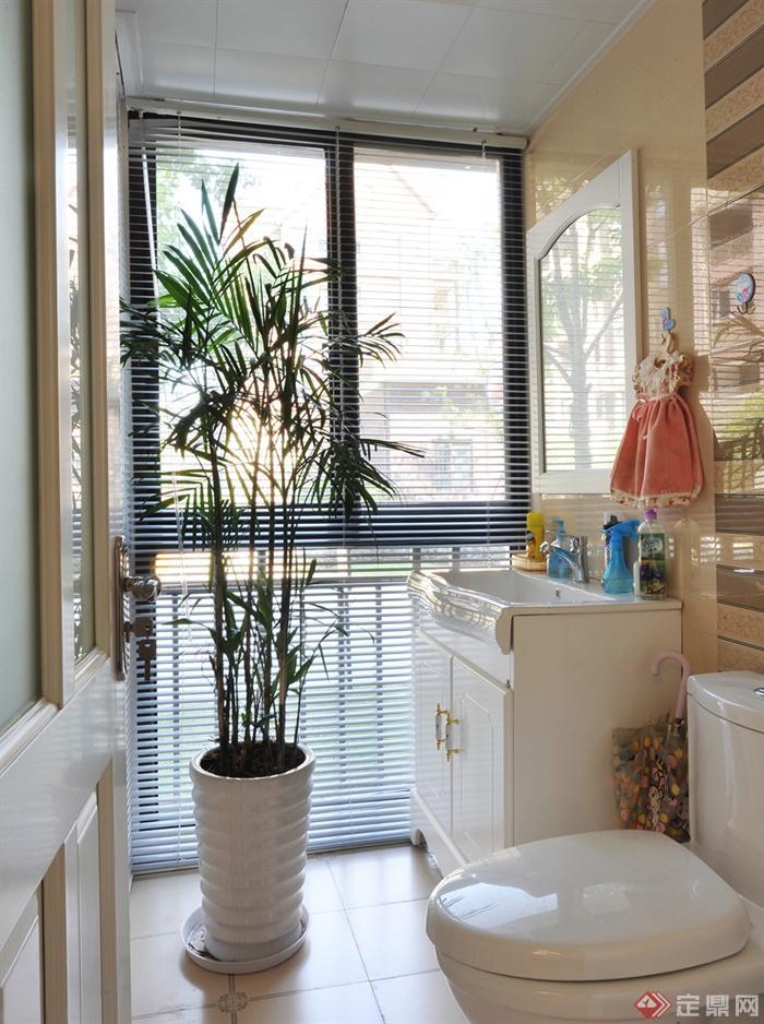 100㎡1室2厅住宅室内图片-卫生间洗手台盆栽马桶-设计