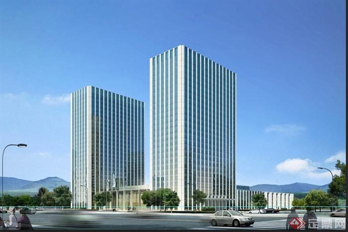 现代某高层裙带式办公建筑设计3dmax模型与psd效果图(1)图片