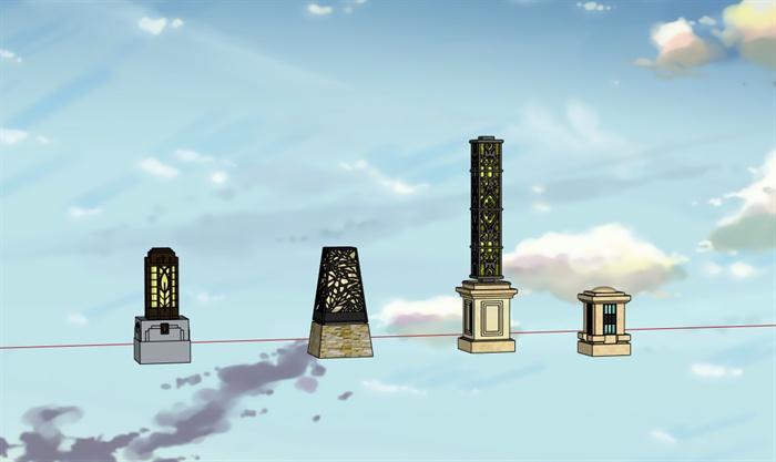 园林景观四款灯柱su模型