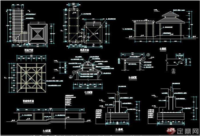 重檐亭与廊架组合,包括平面图