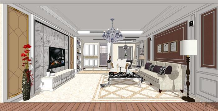 欧式客厅餐厅室内设计su精致模型(附高清效果图)