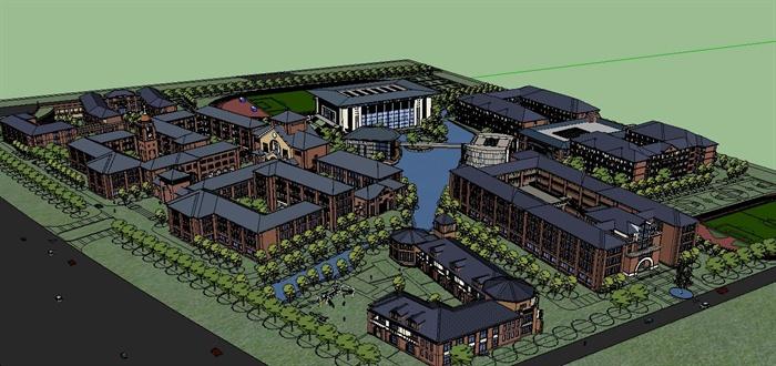 某欧式国际学校校园建筑规划设计方案su模型[原创]