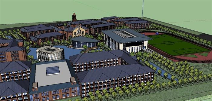 某欧式国际学校校园建筑规划设计方案su模型4