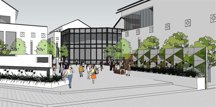 某新中式商业街坊建筑景观su模型(1)图片
