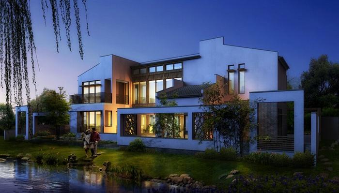 现代新中式联排别墅建筑设计su模型图片