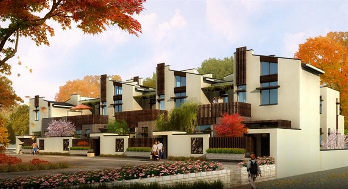 现代新中式联排别墅建筑设计su模型[原创]
