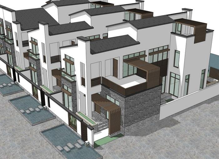 现代新中式联排别墅建筑设计su模型