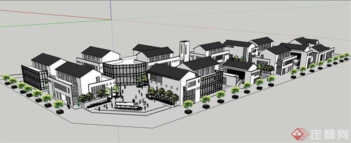 某新中式商业街坊建筑景观su模型(3)图片