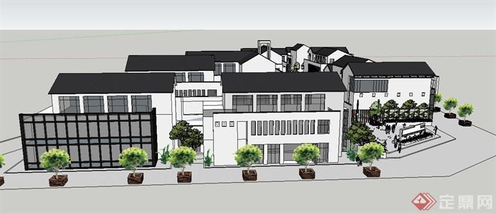 某新中式商业街坊建筑景观su模型(4)图片