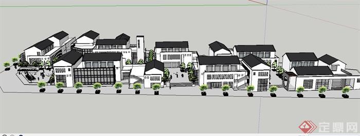某新中式商业街坊建筑景观su模型(5)图片