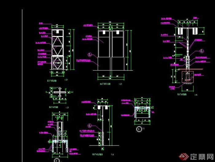 园林景观商业标志牌v商业CAD施工图[Landsca260在墙cad是数值多少图片