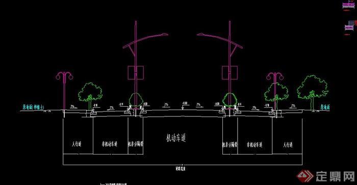 园林景观道路剖面及取消剖面施工CAD设计大cad复制铺装多重图片