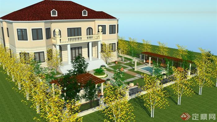 别墅,住宅建筑,庭院景观,庭院,廊架,水池,花架