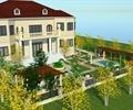 別墅,住宅建筑,庭院景觀,庭院,廊架,水池,花架