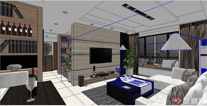 某现代三室一厅住宅室内装修设计SU模型,该室内有两个卧室、一个书房、一个厨房、一个卫生间、客厅与餐厅,室内装修布置合理,家具齐全,具有一定的参考价值。