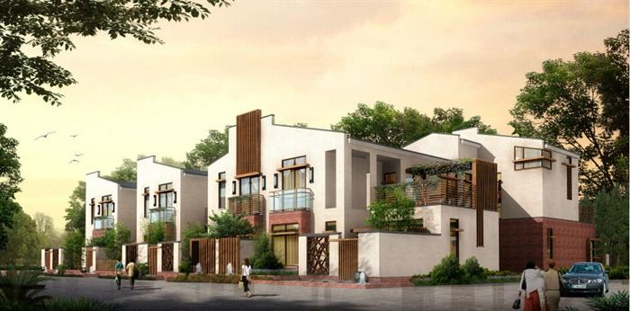 新中式独栋别墅建筑设计su模型图片