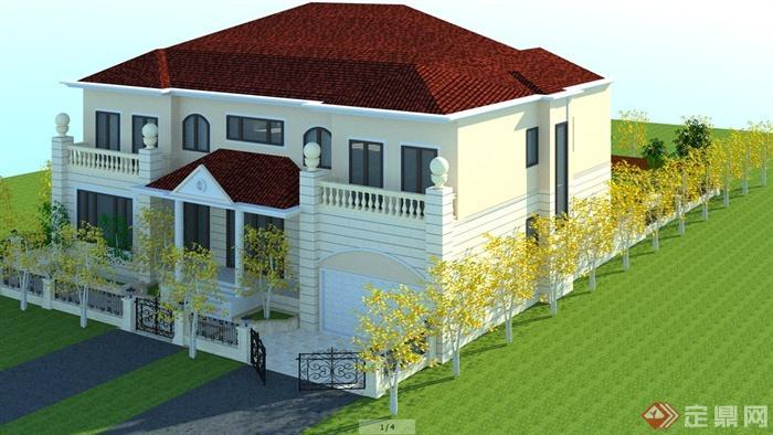 欧式风格别墅住宅建筑及庭院景观su模型(含效果图)