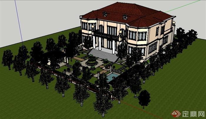 欧式风格别墅住宅建筑及庭院景观su模型(含效果图)[]