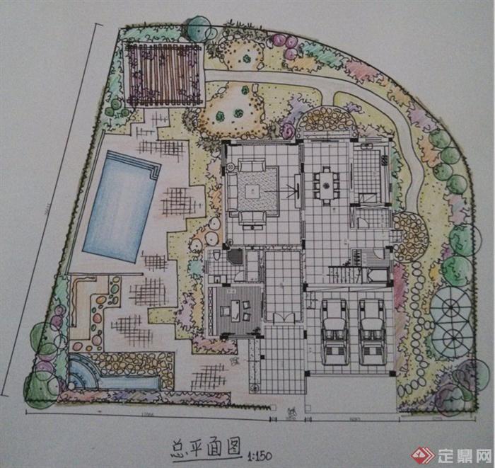 某别墅庭院景观手绘方案设计