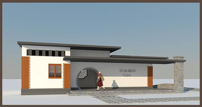 三个公共厕所建筑设计cad方案图