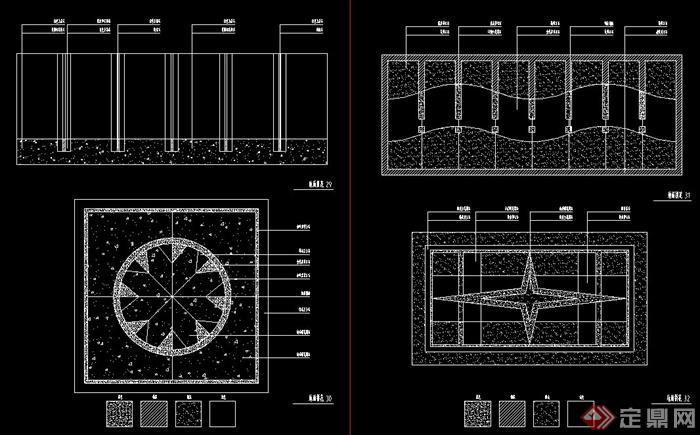 室内装修地面拼花设计cad方案图