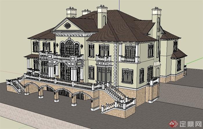 欧式风格某三层别墅住宅建筑设计su模型[原创]