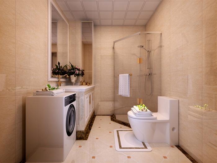 欧式风格卧室及卫生间室内设计3dmax模型(含效果图)