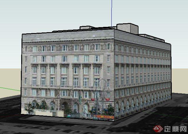 欧式风格六层办公楼建筑设计su模型