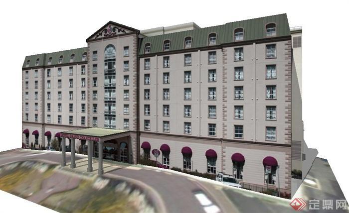 欧式风格办公区建筑设计su模型