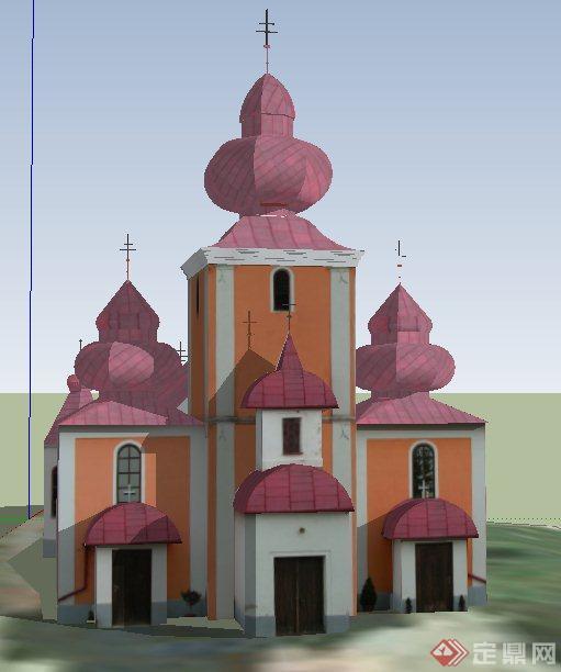 欧式风格某教堂建筑设计su模型