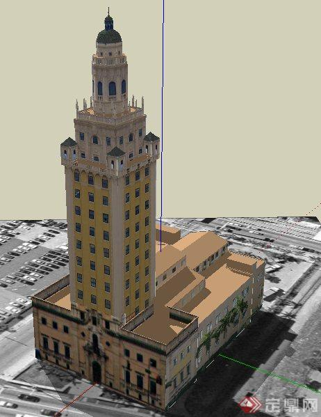 欧式风格塔楼状办公楼建筑设计su模型