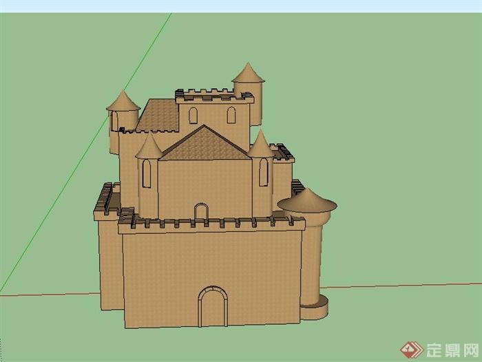 某两层沙制城堡建筑设计su模型(1)