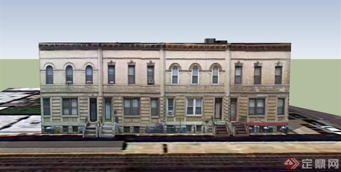 某欧式两层公寓建筑设计su模型