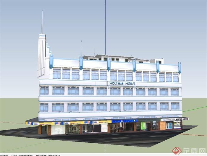某欧式商业四层建筑设计su模型