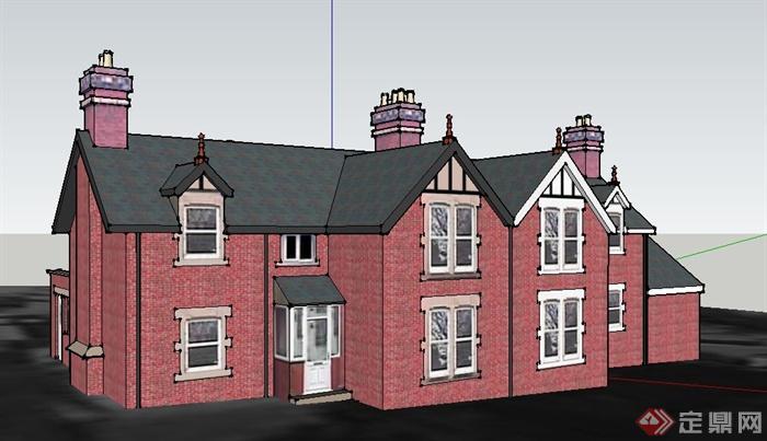 欧式风格民居住宅建筑设计su模型