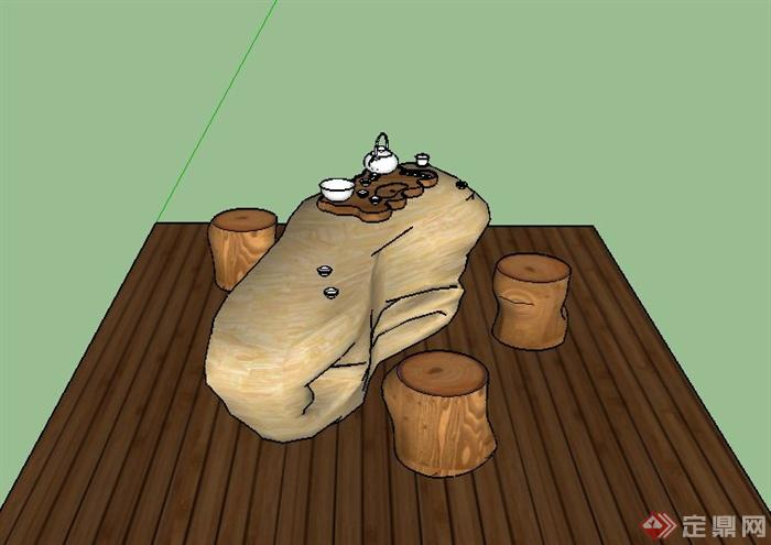 某木制茶具设计su模型