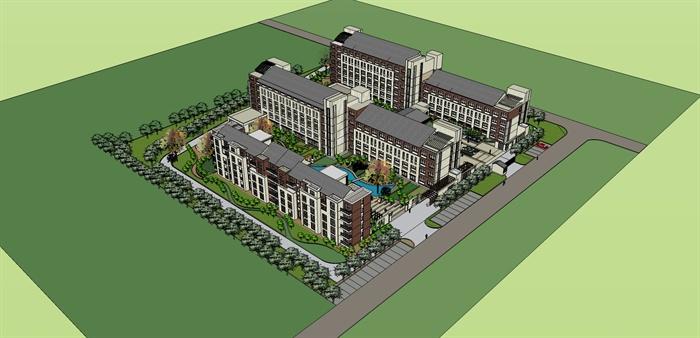 某社会福利院养老院建筑设计(含su模型, cad图纸, jpg
