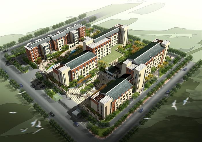 某社福利院养老院建筑设计(含su房屋、cad米8x11米模型设计图图片