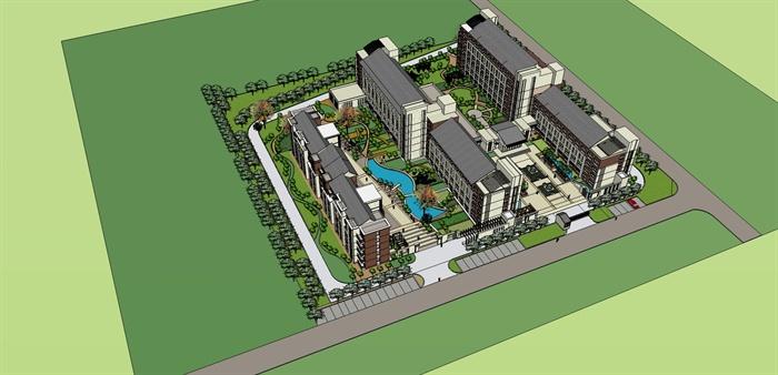 某社会福利院养老院建筑设计(含su模型, cad图纸, jpg图片