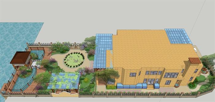 某欧式别墅庭院景观设计模型方案图