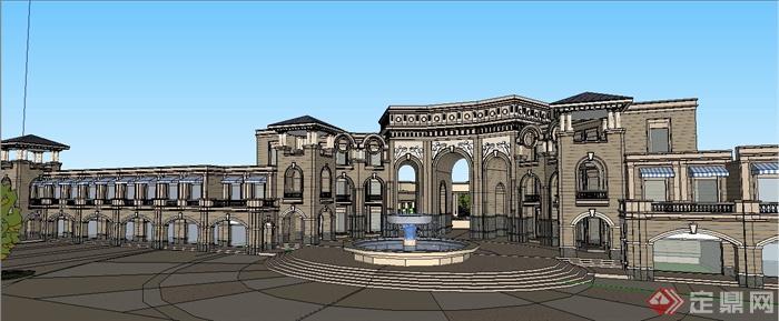 欧式风格商业街建筑景观su模型