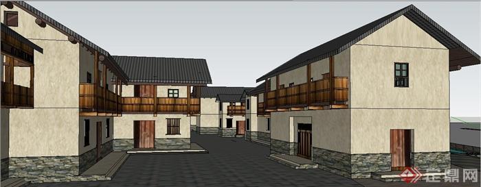 现代新中式仿古民居住宅建筑设计su模型(3)图片