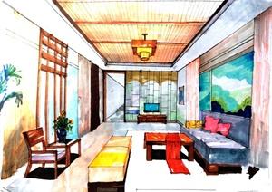室内空间、家具、景观、建筑手绘设计