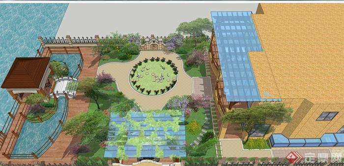 某欧式别墅庭院景观设计模型方案图(3)