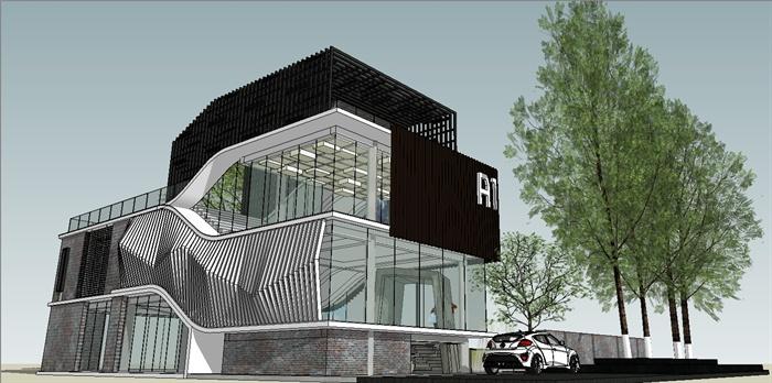 创意办公楼建筑设计su模型
