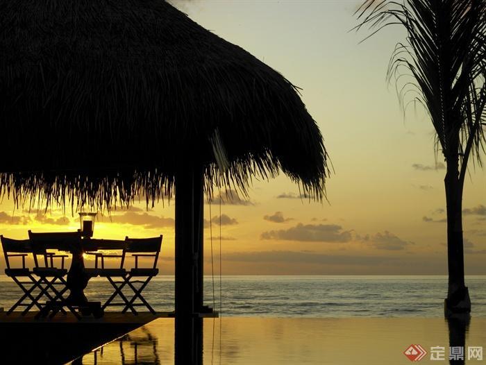 度假酒店-马尔代夫-水景茅草屋植物-设计师图库